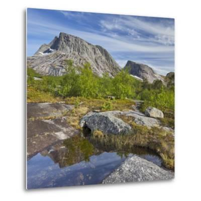 Norway, Northern Country, Lofoten, Ballangen, Saetran, Efjorden, Huglhornet-Rainer Mirau-Metal Print
