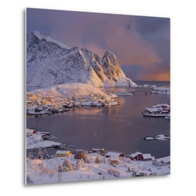 Reine' (Village), Lilandstinden, Moskenesoya (Island), Lofoten, 'Nordland' (County), Norway-Rainer Mirau-Metal Print