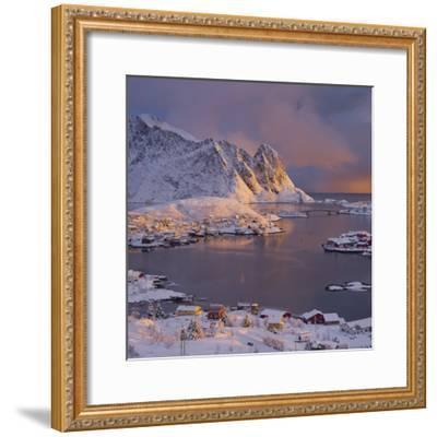 Reine' (Village), Lilandstinden, Moskenesoya (Island), Lofoten, 'Nordland' (County), Norway-Rainer Mirau-Framed Photographic Print