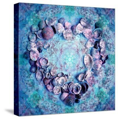 Photographic Layer Work of a Heart from Seashells and Floral Ornaments in Blue Lavender Tones-Alaya Gadeh-Stretched Canvas Print