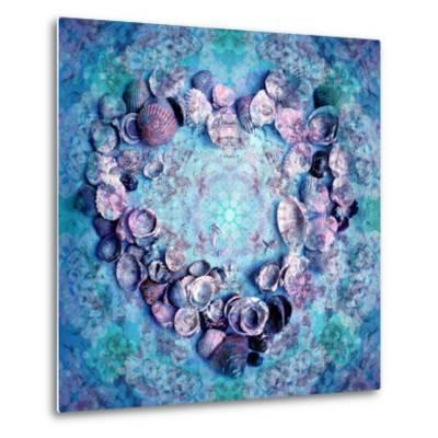 Photographic Layer Work of a Heart from Seashells and Floral Ornaments in Blue Lavender Tones-Alaya Gadeh-Metal Print
