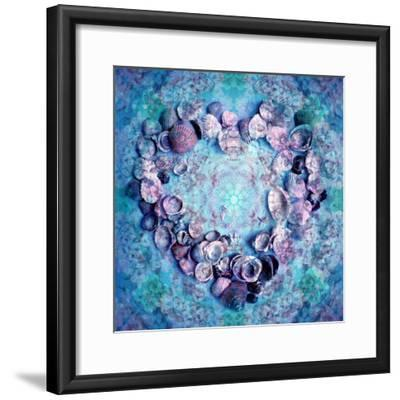Photographic Layer Work of a Heart from Seashells and Floral Ornaments in Blue Lavender Tones-Alaya Gadeh-Framed Photographic Print