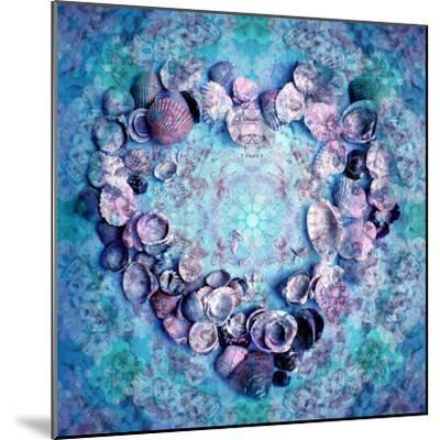 Photographic Layer Work of a Heart from Seashells and Floral Ornaments in Blue Lavender Tones-Alaya Gadeh-Mounted Photographic Print