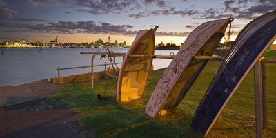 Stanley Bay, Old Boats, Dusk, Skyline of Auckland, North Island, New Zealand-Rainer Mirau-Framed Premium Photographic Print