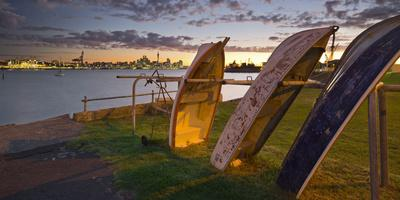 Stanley Bay, Old Boats, Dusk, Skyline of Auckland, North Island, New Zealand-Rainer Mirau-Stretched Canvas Print