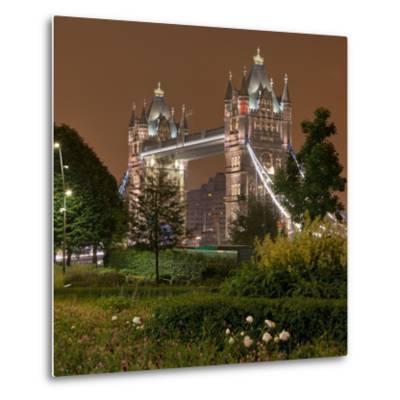 Tower Bridge, in the Evening, London, England, Great Britain-Rainer Mirau-Metal Print