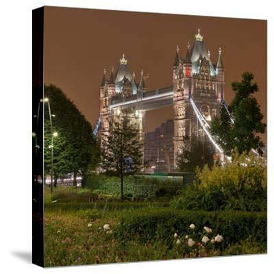 Tower Bridge, in the Evening, London, England, Great Britain-Rainer Mirau-Stretched Canvas Print