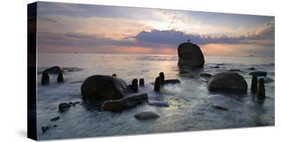 Erratic Blocks at Sunrise, National Park Jasmund, Island RŸgen, Mecklenburg-West Pomerania, Germany-Andreas Vitting-Stretched Canvas Print
