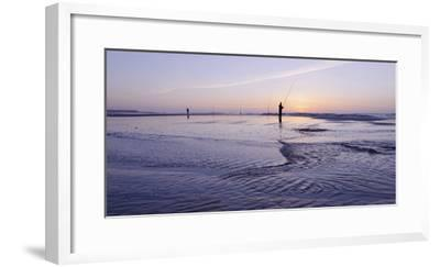 Surf Angler on the Beach, Evening Mood, Praia D'El Rey-Axel Schmies-Framed Photographic Print