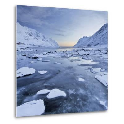 Indre Skjelfjorden, Flakstadoya (Island), Lofoten, 'Nordland' (County), Norway-Rainer Mirau-Metal Print