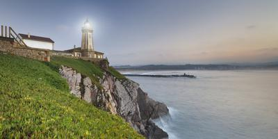 Lighthouse of AvilŽs, Bay of Biscay, Asturias, Spain-Rainer Mirau-Framed Premium Photographic Print