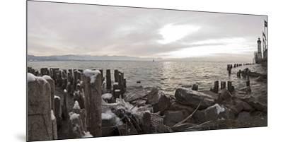 Wooden Poles Covered with Ice, Island Lindau in Lake Constance, Swedish Flag, Lighthouse, Lindau-Markus Leser-Mounted Premium Photographic Print