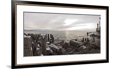 Wooden Poles Covered with Ice, Island Lindau in Lake Constance, Swedish Flag, Lighthouse, Lindau-Markus Leser-Framed Premium Photographic Print