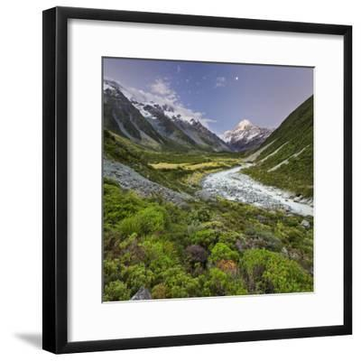 Aoraki, Hooker River, Mount Cook National Park, Canterbury, South Island, New Zealand-Rainer Mirau-Framed Photographic Print