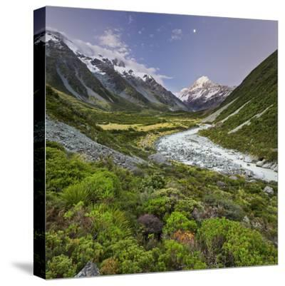 Aoraki, Hooker River, Mount Cook National Park, Canterbury, South Island, New Zealand-Rainer Mirau-Stretched Canvas Print