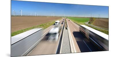 Germany, Saxony-Anhalt, Truck and Car in Motion Blur-Andreas Vitting-Mounted Premium Photographic Print