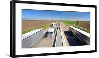 Germany, Saxony-Anhalt, Truck and Car in Motion Blur-Andreas Vitting-Framed Premium Photographic Print