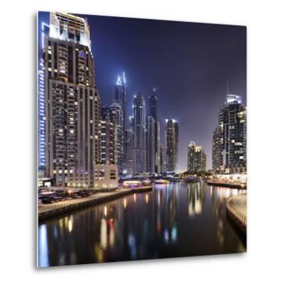 Modern High Rises, Dubai Marina by Night, Dubai, United Arab Emirates, the Middle East-Axel Schmies-Metal Print