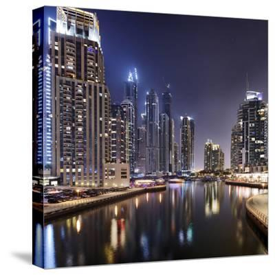 Modern High Rises, Dubai Marina by Night, Dubai, United Arab Emirates, the Middle East-Axel Schmies-Stretched Canvas Print