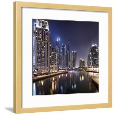 Modern High Rises, Dubai Marina by Night, Dubai, United Arab Emirates, the Middle East-Axel Schmies-Framed Photographic Print