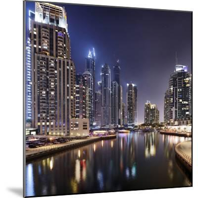 Modern High Rises, Dubai Marina by Night, Dubai, United Arab Emirates, the Middle East-Axel Schmies-Mounted Photographic Print