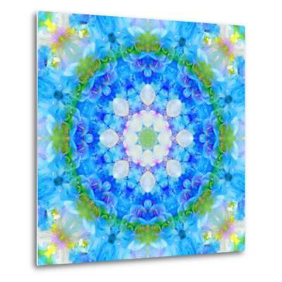 Symmetric Ornament Mandala from Flowers in Blue and Green Tones-Alaya Gadeh-Metal Print
