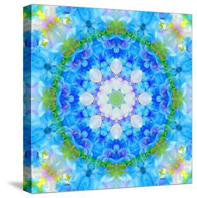 Symmetric Ornament Mandala from Flowers in Blue and Green Tones-Alaya Gadeh-Stretched Canvas Print
