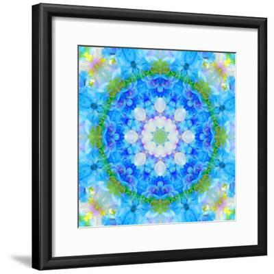 Symmetric Ornament Mandala from Flowers in Blue and Green Tones-Alaya Gadeh-Framed Photographic Print