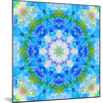 Symmetric Ornament Mandala from Flowers in Blue and Green Tones-Alaya Gadeh-Mounted Photographic Print
