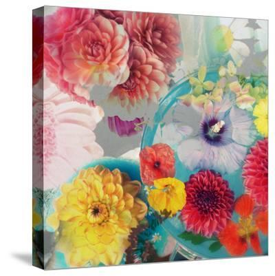 Blossoms in Blue Water as Table Decoration with Glass and Textiles-Alaya Gadeh-Stretched Canvas Print