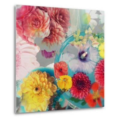 Blossoms in Blue Water as Table Decoration with Glass and Textiles-Alaya Gadeh-Metal Print