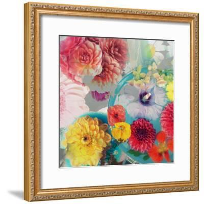 Blossoms in Blue Water as Table Decoration with Glass and Textiles-Alaya Gadeh-Framed Photographic Print