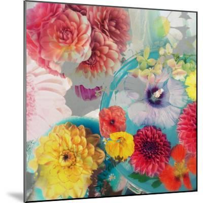 Blossoms in Blue Water as Table Decoration with Glass and Textiles-Alaya Gadeh-Mounted Photographic Print