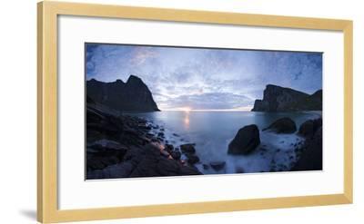 Scandinavia, Norway, Lofoten, Moskenesoey, Kvalvika, Sea-Bay, Sunset, Cloudy-Mood-Rainer Mirau-Framed Photographic Print