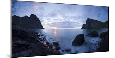 Scandinavia, Norway, Lofoten, Moskenesoey, Kvalvika, Sea-Bay, Sunset, Cloudy-Mood-Rainer Mirau-Mounted Photographic Print