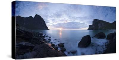 Scandinavia, Norway, Lofoten, Moskenesoey, Kvalvika, Sea-Bay, Sunset, Cloudy-Mood-Rainer Mirau-Stretched Canvas Print
