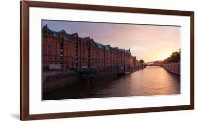 Hamburg, Panorama, Speicherstadt (City of Warehouses), Dusk-Catharina Lux-Framed Premium Photographic Print