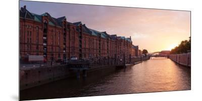 Hamburg, Panorama, Speicherstadt (City of Warehouses), Dusk-Catharina Lux-Mounted Premium Photographic Print