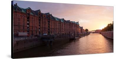 Hamburg, Panorama, Speicherstadt (City of Warehouses), Dusk-Catharina Lux-Stretched Canvas Print