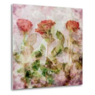 A Dreamy Floral Montage from Three Red Roses-Alaya Gadeh-Metal Print