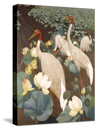 Indian Sarus Cranes on Gold Leaf-Jesse Arms Botke-Stretched Canvas Print