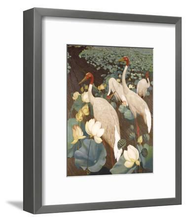 Indian Sarus Cranes on Gold Leaf-Jesse Arms Botke-Framed Art Print
