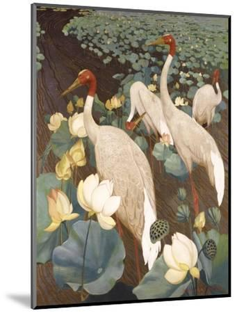 Indian Sarus Cranes on Gold Leaf-Jesse Arms Botke-Mounted Art Print