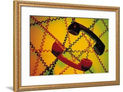 Telephone Receivers and Crisscross of Telephone Cords-Comstock-Framed Photographic Print
