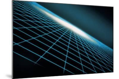 Blue Grid Graphic-Comstock-Mounted Photographic Print