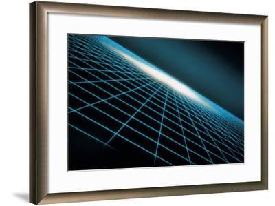Blue Grid Graphic-Comstock-Framed Photographic Print