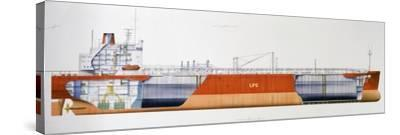 Isomeria Oil Tanker, 1982, United Kingdom, Cutaway Drawing-De Agostini Picture Library-Stretched Canvas Print