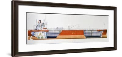 Isomeria Oil Tanker, 1982, United Kingdom, Cutaway Drawing-De Agostini Picture Library-Framed Photographic Print