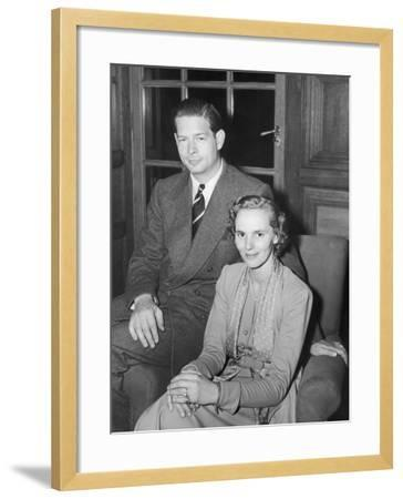 Ex-King Michael of Rumania with His Wife, Princess Anna Boubon Parma--Framed Photographic Print