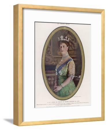 Mary, Queen of George V, Wearing a Crown with the Koh-I-Noor Diamond Set in the Centre--Framed Photographic Print